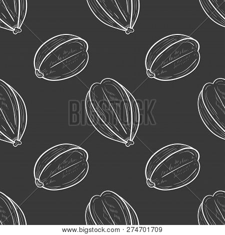 Arjuna. Fruit. Seamless, Texture, Background, Wallpaper. Sketch. Monophonic.