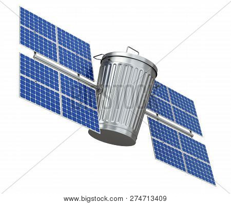 Space Junk Pollution Concept With Garbage Can And Solar Panels - 3d Illustration