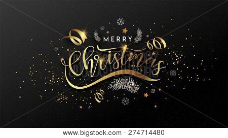 Christmas. Lettering Merry Christmas And Happy New Year 2019. Vector Concept For Background, Greetin