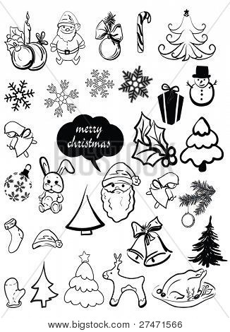 Vector set of decorative Christmas elements