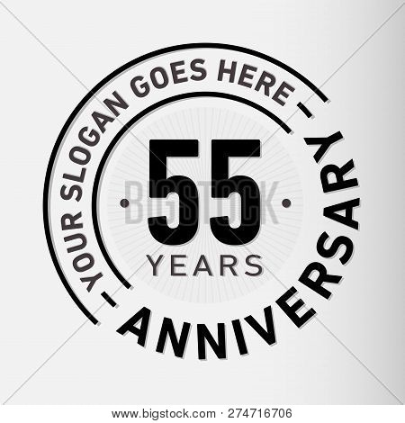 55 Years Anniversary Logo. 55th Vector And Illustration.