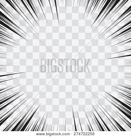 Comic Book Action Lines. Speed Lines Manga Frame. Cartoon Background. Black And White Vector Retro I