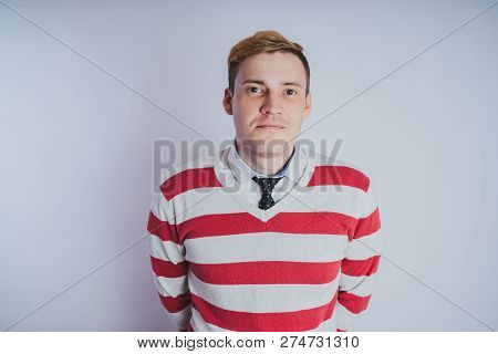 Emotional Portrait Of A Guy, Business Style In Clothes: Shirt And Jeans. Emotional Portrait. Short H