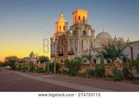Sunrise At The San Xavier Mission Church In Tucson, Arizona. This Historic Spanish Catholic Mission