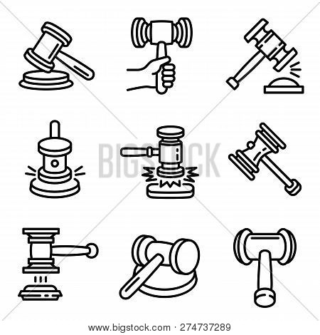 Judge Hammer Icon Set. Outline Set Of Judge Hammer Vector Icons For Web Design Isolated On White Bac
