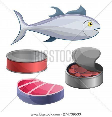 Tuna Icon Set. Cartoon Set Of Tuna Vector Icons For Web Design