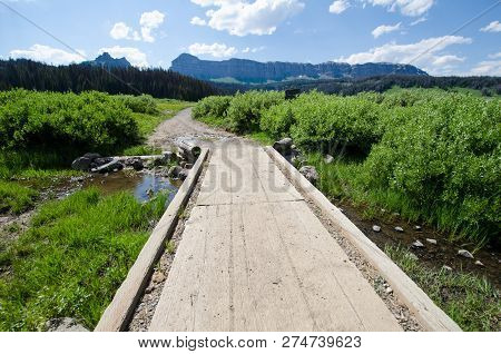 Walking Path Platform Across A Small Creek In Brooks Lake Wyoming Usa