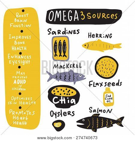 Omega 3sources. . Hand Drawn Infographics About Benefits Of Omega 3 And Its Sources. Food Elements.