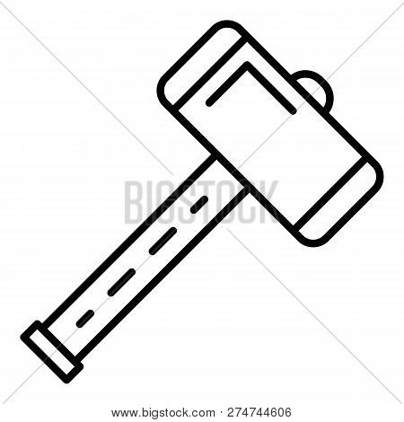 Work Sledge Hammer Icon. Outline Work Sledge Hammer Vector Icon For Web Design Isolated On White Bac