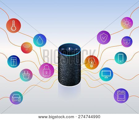 Smart Speaker For Smart Home Control. Icons On Colorful Gradient. Voice Control Gadget Of Your House
