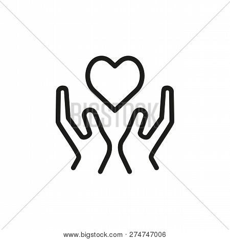 Donation Line Icon. Heart, Hand, Kindness. Charity Concept. Can Be Used For Topics Like Organ Transp