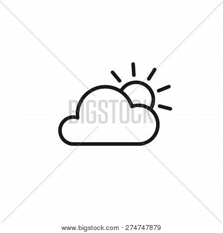 Black Isolated Outline Icon Of Cloud And Sun On White Background. Line Icon Of Partially Cloudy