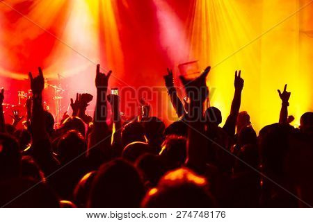 silhouettes of concert crowd at rock concert