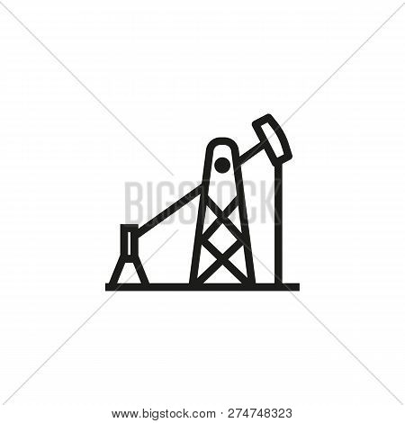 Oil Pump Line Icon. Oil-derrick, Industry, Mining. Industry Concept. Vector Illustration Can Be Used
