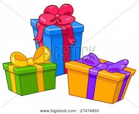 Cartoon gifts. All gifts are on separate layers