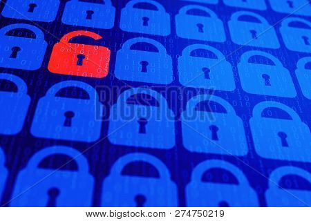 Digital Internet Data Personal Security Concept Blue Background. Safe Serfing Www Cyberspace.