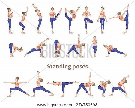 Women Silhouettes. Collection Of Yoga Poses.