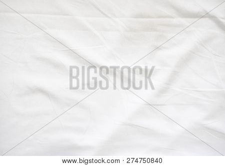 Wrinkle On White Bed Sheet. Old White Bed Sheet.