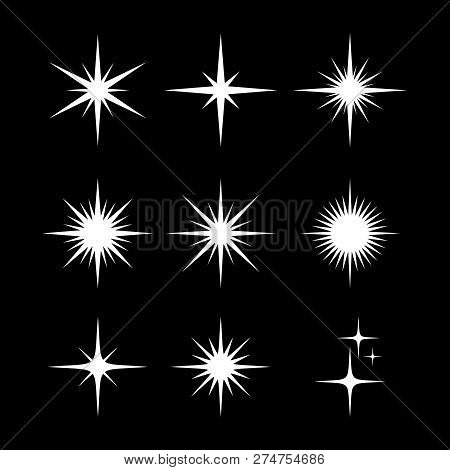 Set Of Sparkle Star, Sparkles Star Isolated Vector. Sparkle Light. Sparkling Stars. Sparkles Black S