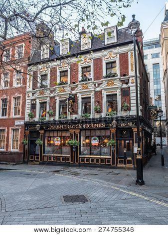 London, Uk - 4 December 2018: The Sherlock Holmes Public House In Westminster, Central London.  Chri
