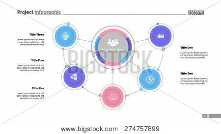 Mindmap Diagram With Five Options. Process Diagram, Flow Chart, Editable Template. Creative Concept