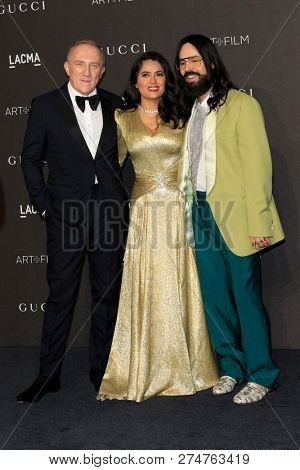 LOS ANGELES - NOV 3:  Franc?ois-Henri Pinault, Salma Hayek, Alessandro Michele at the 2018 LACMA: Art and Film Gala at the Los Angeles County Musem of Art on November 3, 2018 in Los Angeles, CA