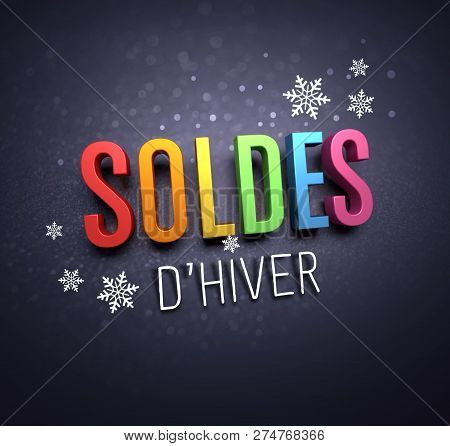 Colorful Winter Sale Writing In French Language, With Snowflakes Shapes On Black Background - 3d Ill