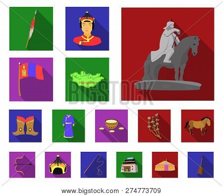 Country Mongolia Flat Icons In Set Collection For Design.territory And Landmark Vector Symbol Stock