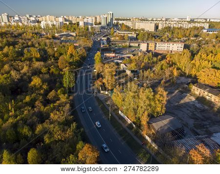 Aerial View Of An Autumn Zelenograd, Russia