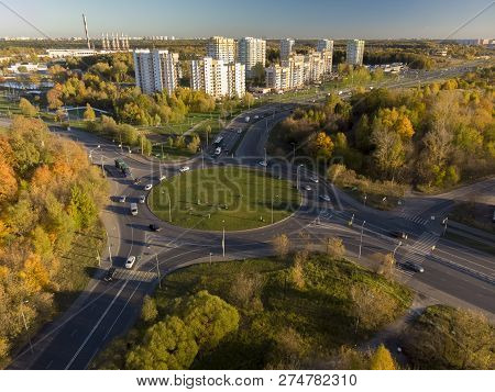 Aerial View On Circular Road Junction In Zelenograd, Russia