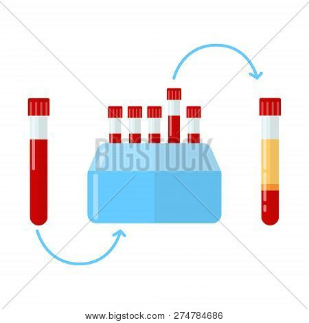 Centrifuge For Making Plasma In Dentistry, Dermatology And Mesotherapy. Vector Illustration In Flat