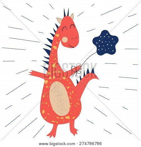 Funny Dinosaur With Balloon. Ideal For Cards, Invitations, Party, Banners, Preschool And Children Ro