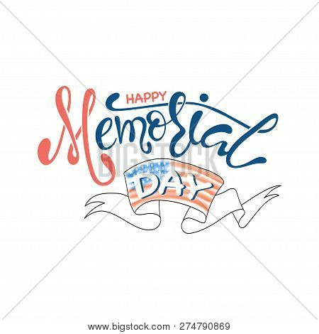 Memorial Day Background With Stars, Ribbon And Lettering. Template For Memorial Day. Vector