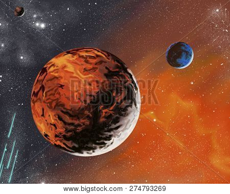 Unknown Planets And Stars In The Space System.illustration Of A Space System With Unknown Planets.