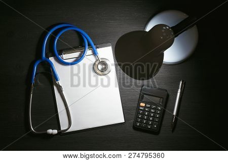 Medical Insurance Calculation Mockup. Calculation Of The Cost Of Treatment Form. Cost Of Drugs Mock
