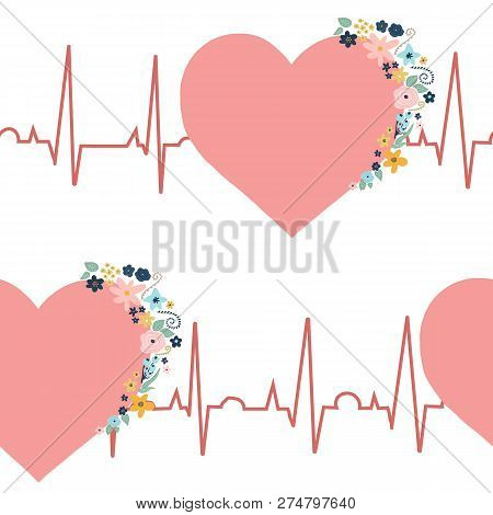 Ekg Seamless Pattern. Pink Hearts With Flowers On Electrocardiogram. Original Health Related Backgro
