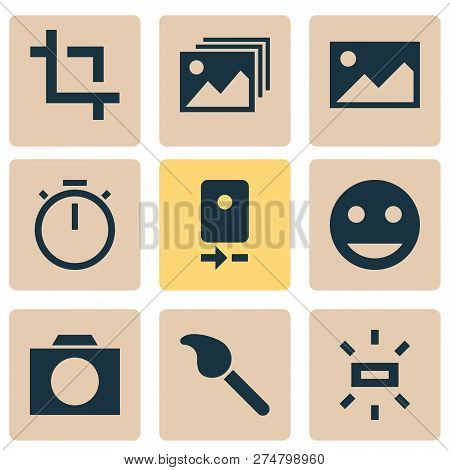 Photo Icons Set With Photographing, Tag Face, Wb Sunny And Other Smile Elements. Isolated Vector Ill