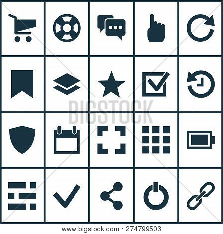 User Icons Set With Battery, Share, Checkmark And Other Screenshot Elements. Isolated Vector Illustr