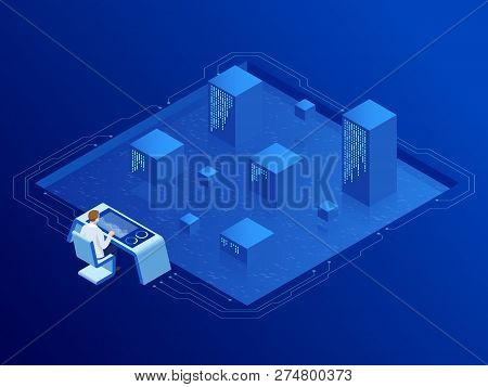 Isometric Server Room In Datacenter. Administrator Monitors Work Of Artificial Intelligence. Profess