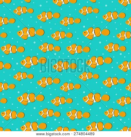 Seamless Pattern With Orange Aquarium Fish. There Are Clown Fishes In The Picture. Vector Illustrati