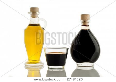 bottle of olive oil and italian balsamic vinegar