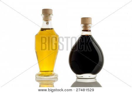 bottle of olive oil and italian balsamic vinegar