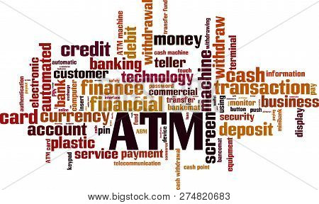 Atm Word Cloud Concept. Vector Illustration On White