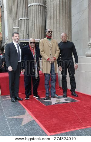 LOS ANGELES - NOV 19:  Jimmy Kimmel, Quincy Jones, Snoop Dogg, Dr Dre at the Snoop Dogg Star Ceremony on the Hollywood Walk of Fame on November 19, 2018 in Los Angeles, CA