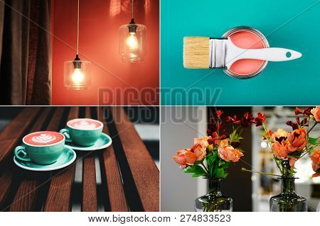 Creative Collage - Mood Board In Coral Color. Main Interior Design Trend Concept. Natural And Authen