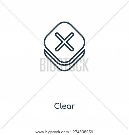 Clear Icon In Trendy Design Style. Clear Icon Isolated On White Background. Clear Vector Icon Simple