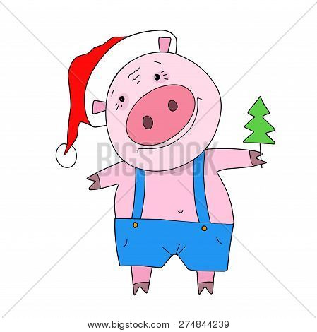 Stock Illustration Pig With Christmas Tree On A White Background