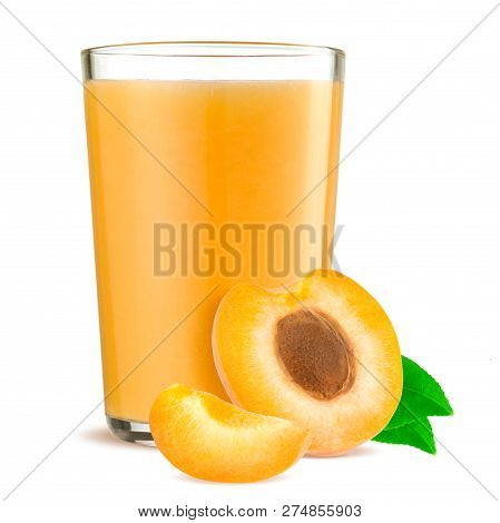 Orange Apricots With Leaf And Apricot Juice Isolated On A White Background