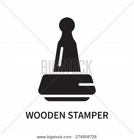 Wooden Stamper Icon Isolated On White Background. Wooden Stamper Icon Simple Sign. Wooden Stamper Ic