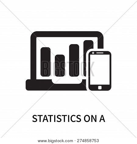 Statistics On A Screen And A Smartphone Icon Isolated On White Background. Statistics On A Screen An